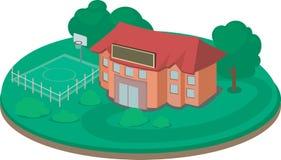 Bâtiment scolaire mignon avec le terrain de jeu vert de la terre et de basket-ball Images stock