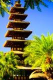 Bâtiment traditionnel antique paisible calme de temple dans le temps de coucher du soleil photos stock