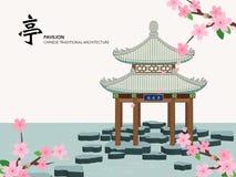 Bâtiment traditionnel chinois d'architecture de série de calibre de vecteur Image stock