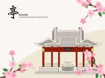 Bâtiment traditionnel chinois d'architecture de série de calibre de vecteur Photos libres de droits