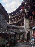 Bâtiment traditionnel intérieur de Tulou de Hakka Fujian, Chine Image stock