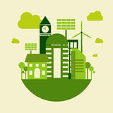 Bâtiment vert de ville, concept de la terre d'économies, vecteur Photos libres de droits