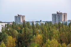 Bâtiments abandonnés de zone de Pripyat Chornobyl de ville fantôme Images stock