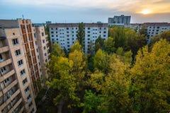 Bâtiments abandonnés de zone de Pripyat Chornobyl de ville fantôme Photo libre de droits