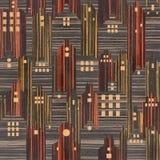 Bâtiments abstraits de ville - fond sans couture, textue en bois de bois d'ébène Photo stock