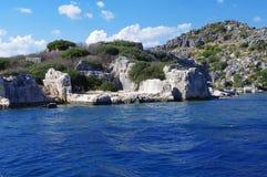 Bâtiments antiques sur la plage Ruines de la ville La Turquie photographie stock