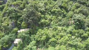 Bâtiments asiatiques cachés dans la jungle sur la vue aérienne de montagne banque de vidéos