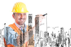 Bâtiments beaux de dessin de constructeur images stock