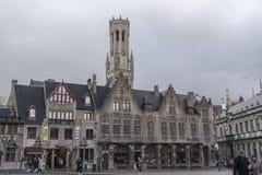 Bâtiments carrés Bruges de Burg photo stock