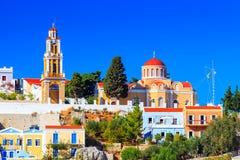 Bâtiments chez Symi Grèce Photo stock