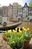 Bâtiments colorés d'héritage le long de canal de Brouwersgracht à Amsterdam avec des fleurs colorées et un bateau-maison dans le  image libre de droits