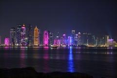 Bâtiments colorés de Doha Image libre de droits