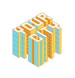 Bâtiments colorés isométriques sous forme de votre texte de ville Illustration isométrique de vecteur Photographie stock