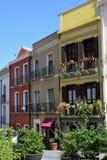 Bâtiments colorés, Quartiere Villanova, Cagliari, Sardaigne, Italie Photos libres de droits