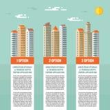 Bâtiments - concept infographic de vecteur Options numérotées, blocs de verticale Illustration de bâtiments dans le style plat de Image stock