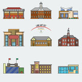 Bâtiments d'éducation réglés Image stock
