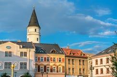 Bâtiments dans la vieille ville de Prerov, République Tchèque Image stock
