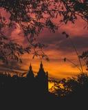 Bâtiments de coucher du soleil de Central Park par des arbres images libres de droits