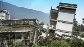 Bâtiments de dommages de tremblement de terre de Wenchuan, Sichuan Photographie stock libre de droits