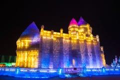 Bâtiments de glace à la glace de Harbin et au monde de neige Photographie stock