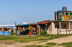 Bâtiments de hippie, Cabo Polonio, Uruguay Photo stock