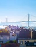 Bâtiments de Lisbonne et pont, Portugal Image libre de droits