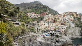 Bâtiments de Manarola en Cinque Terre en Italie photographie stock