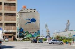 Bâtiments de silo et de docks secs avec la peinture de mur Photographie stock
