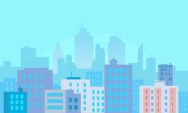 Bâtiments de ville de jour sur le bleu illustration libre de droits
