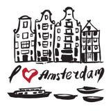Bâtiments dessinés par brosse Amsterdam Images libres de droits