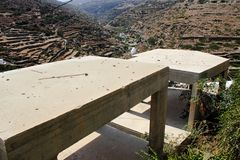 Bâtiments en construction dans le village traditionnel de Kastro, île de Sifnos, Grèce Images stock