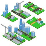 Bâtiments et constructions de bâtiments isométriques avec des arbres et des routes Édifices publics, maisons de campagne, complex illustration de vecteur