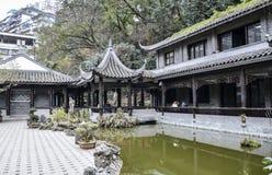Bâtiments et jardins antiques dans Wanzhou Images libres de droits
