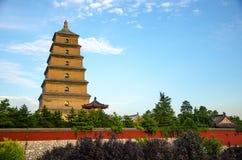 Bâtiments historiques bouddhistes de grande pagoda sauvage d'oie de Xi'an Image stock