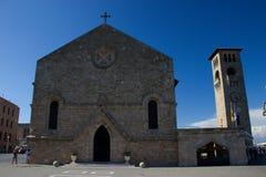 Bâtiments historiques de Rhodos Grèce d'evangesmos d'église Image stock