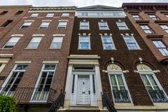 Bâtiments historiques sur la rue d'élans à Albany, New York Images libres de droits