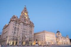 Bâtiments iconiques de Liverpool, les trois grâces Image libre de droits