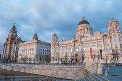 Bâtiments iconiques de Liverpool, les trois grâces Photos stock