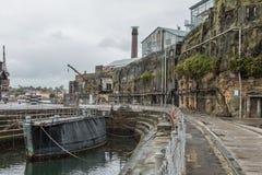 Bâtiments industriels abandonnés, île de cacatoès, Sydney, NSW Image libre de droits