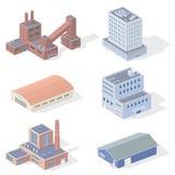 Bâtiments industriels isométriques Photos stock