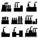 Bâtiments industriels, usine et pollution illustration de vecteur