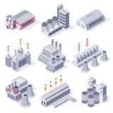 Bâtiments isométriques d'usine Bâtiment industriel de centrale, stockage d'entrepôt d'usines et vecteur du domaine 3D d'industrie illustration libre de droits