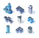 Bâtiments isométriques de centre de la ville d'affaires de vecteur Image libre de droits