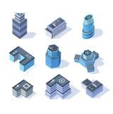 Bâtiments isométriques de centre de la ville d'affaires de vecteur Photos libres de droits