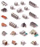 Bâtiments isométriques de vecteur réglés illustration stock