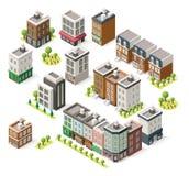 Bâtiments isométriques de ville de vecteur réglés illustration de vecteur