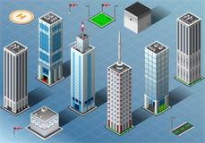 Bâtiments isométriques réglés Images stock