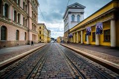 Bâtiments le long de Snellmaninkatu à Helsinki, Finlande Images libres de droits