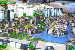 Bâtiments miniatures avec la lumière Image libre de droits