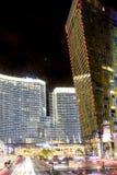 Bâtiments modernes centraux de Las Vegas Tir de clou Moti brouillé Photographie stock
